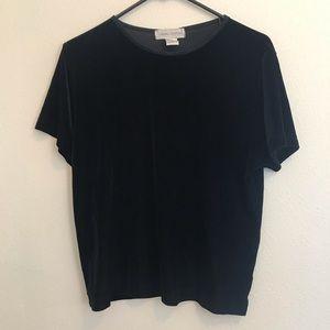 Casual Corner Vintage Velvet Short Sleeved Shirt